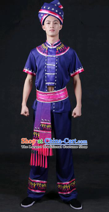Chinese Traditional Zhuang Nationality Compere Navy Outfits Ethnic Minority Folk Dance Stage Show Festival Costume for Men
