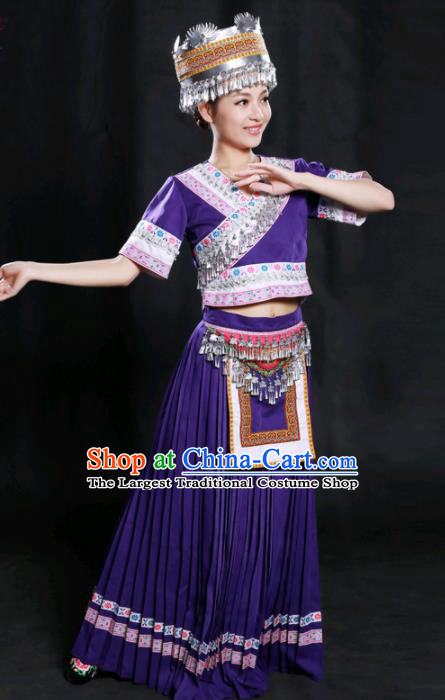 Chinese Traditional Miao Nationality Purple Long Dress Ethnic Minority Folk Dance Stage Show Costume for Women