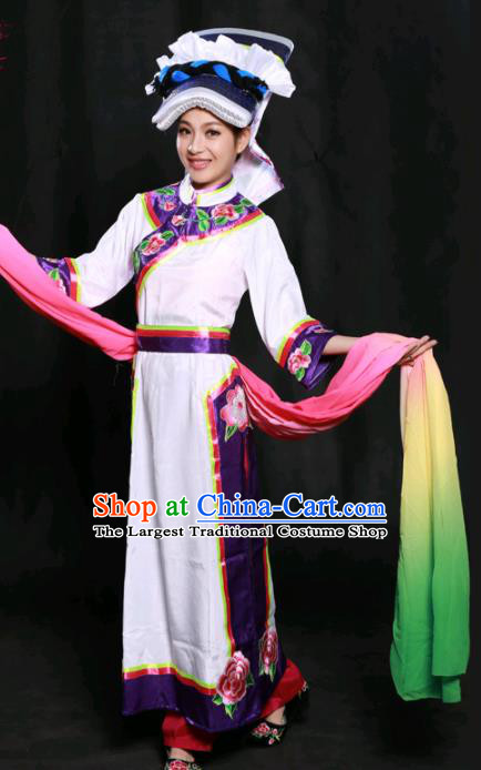 Chinese Traditional Qiang Nationality White Long Dress Ethnic Minority Folk Dance Stage Show Costume for Women