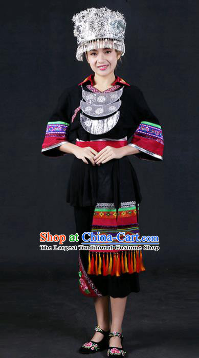 Chinese Traditional Miao Nationality Stage Show Black Dress Ethnic Minority Folk Dance Costume for Women