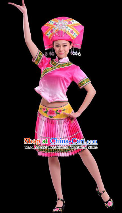 Chinese Traditional Zhuang Nationality Pink Short Dress Ethnic Minority Folk Dance Stage Show Costume for Women