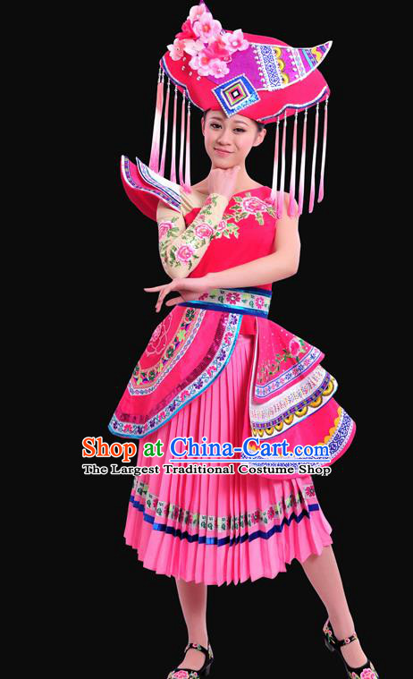 Chinese Traditional Zhuang Nationality Pink Dress Ethnic Minority Folk Dance Stage Show Costume for Women