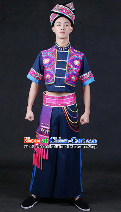 Chinese Traditional Zhuang Nationality Navy Outfits Ethnic Minority Folk Dance Stage Show Compere Festival Costume for Men
