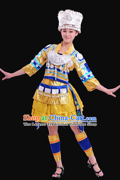 Chinese Traditional Miao Nationality Golden Short Dress Ethnic Minority Folk Dance Stage Show Costume for Women