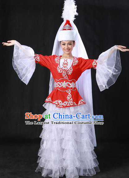 Chinese Traditional Kazak Nationality White Veil Dress Ethnic Minority Folk Dance Stage Show Costume for Women