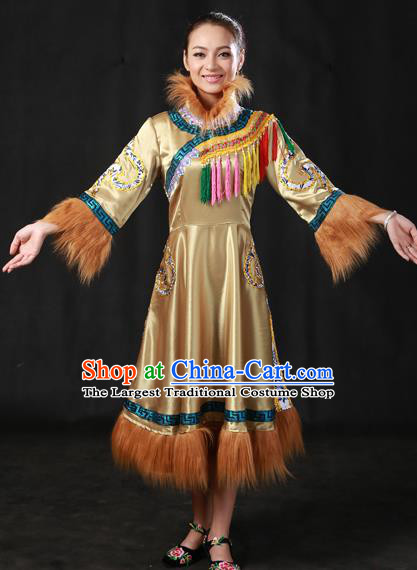 Chinese Traditional Oroqen Nationality Ginger Dress Ethnic Minority Folk Dance Stage Show Costume for Women