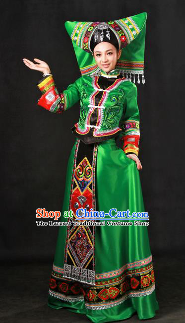 Chinese Traditional Zhuang Nationality Green Dress Ethnic Minority Folk Dance Stage Show Costume for Women