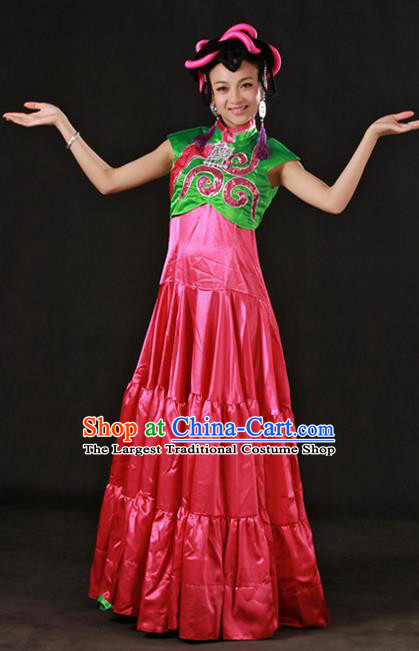 Chinese Traditional Yi Nationality Rosy Dress Ethnic Minority Folk Dance Stage Show Costume for Women