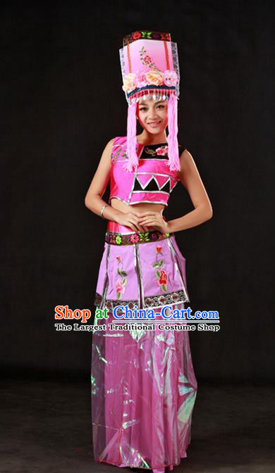 Chinese Traditional Qiang Nationality Pink Dress Ethnic Minority Folk Dance Stage Show Costume for Women