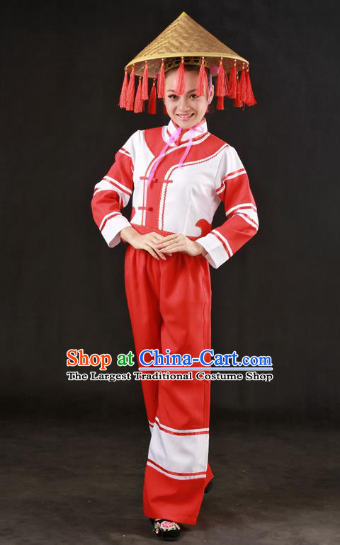Chinese Traditional Maonan Nationality Red Outfits Ethnic Minority Folk Dance Stage Show Costume for Women