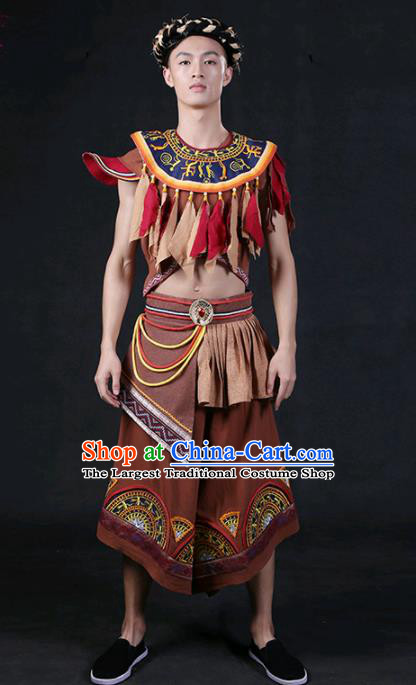 Chinese Traditional Zhuang Nationality Brown Outfits Ethnic Minority Folk Dance Stage Show Compere Festival Costume for Men