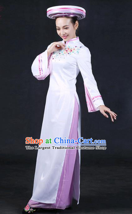 Chinese Traditional Jing Nationality Stage Show White Qipao Dress Ethnic Minority Folk Dance Costume for Women