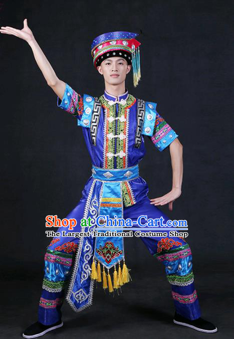 Chinese Traditional Zhuang Nationality Royalblue Outfits Ethnic Minority Folk Dance Stage Show Compere Festival Costume for Men