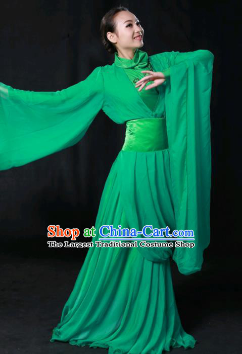 Chinese Spring Festival Gala Classical Dance Green Dress Traditional Fan Dance Compere Costume for Women