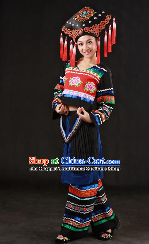 Chinese Traditional Zhuang Nationality Black Outfits Ethnic Minority Folk Dance Stage Show Costume for Women