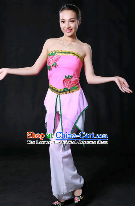 Chinese Spring Festival Gala Folk Dance Rosy Outfits Traditional Fan Dance Compere Costume for Women