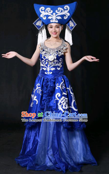 Chinese Traditional Guangxi Zhuang Nationality Stage Show Royalblue Long Dress Ethnic Minority Folk Dance Costume for Women