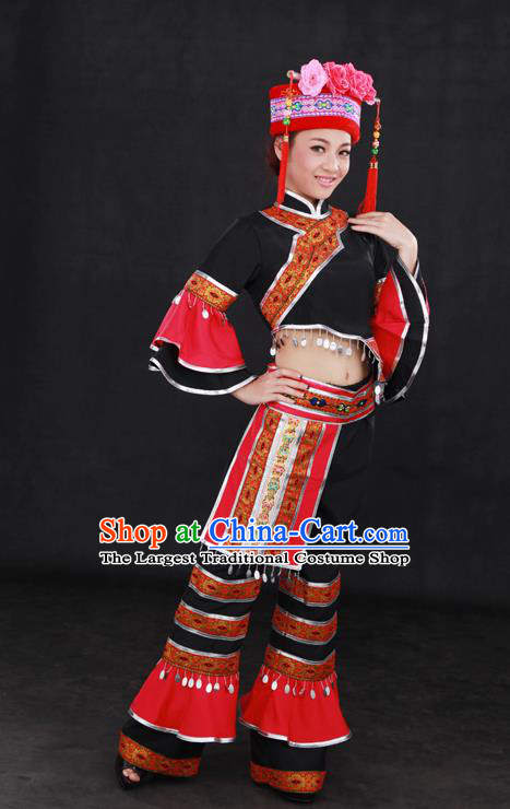 Chinese Traditional Mulao Nationality Black Outfits Ethnic Minority Folk Dance Stage Show Costume for Women