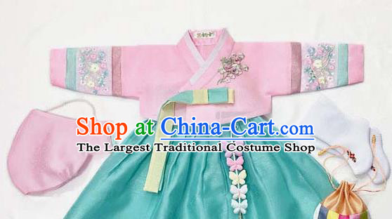 Korean Traditional Hanbok Birthday Pink Blouse and Green Dress Outfit Asian Korea Fashion Costume for Kids