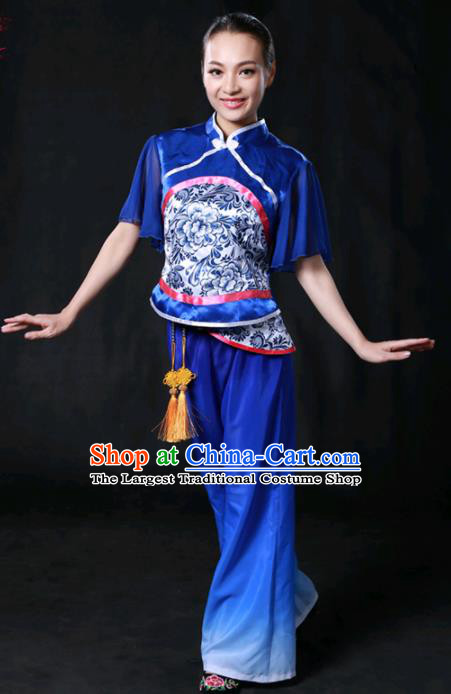 Chinese Spring Festival Gala Folk Dance Royalblue Outfits Traditional Fan Dance Compere Costume for Women
