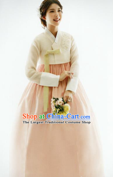 Korean Traditional Hanbok Bride White Blouse and Pink Dress Outfits Asian Korea Fashion Costume for Women