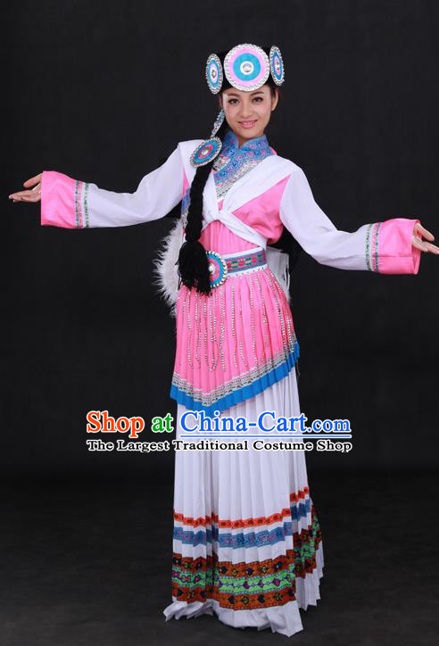 Chinese Traditional Naxi Nationality White Dress Ethnic Minority Folk Dance Stage Show Costume for Women