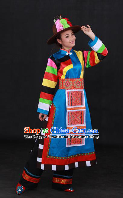 Chinese Traditional Tu Nationality Blue Dress Ethnic Minority Folk Dance Stage Show Costume for Women