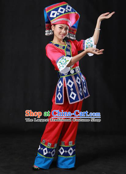 Chinese Traditional Zhuang Nationality Rosy Outfits Ethnic Minority Folk Dance Stage Show Costume for Women