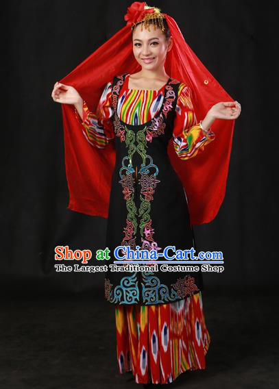 Chinese Traditional Ozbek Nationality Dress Ethnic Minority Folk Dance Stage Show Costume for Women