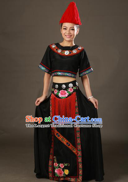 Chinese Traditional Gelao Nationality Black Dress Ethnic Minority Folk Dance Stage Show Costume for Women
