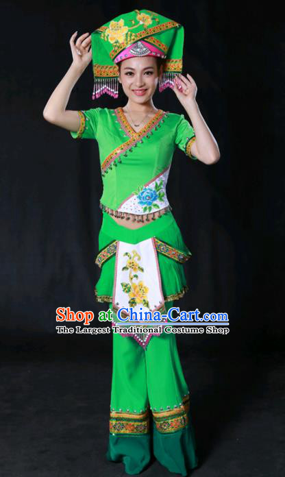 Chinese Traditional Guangxi Zhuang Nationality Green Outfits Ethnic Minority Folk Dance Stage Show Costume for Women