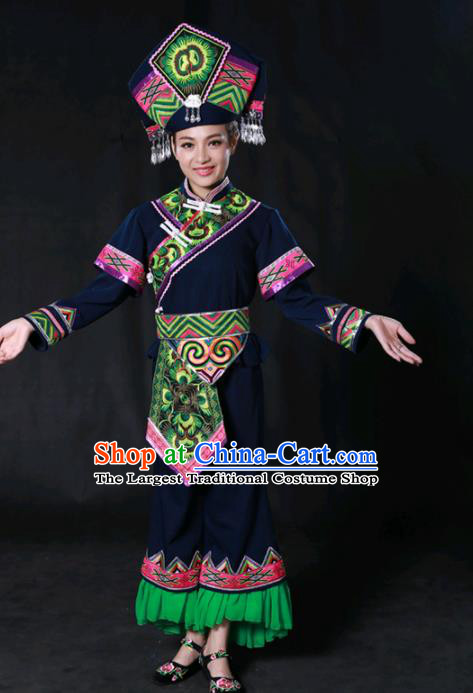 Chinese Traditional Guangxi Zhuang Nationality Navy Outfits Ethnic Minority Folk Dance Stage Show Costume for Women