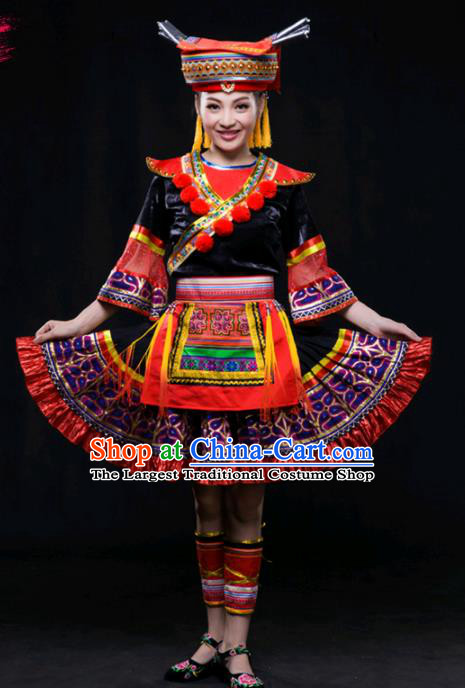 Chinese Traditional Yao Nationality Short Dress Ethnic Minority Folk Dance Stage Show Costume for Women