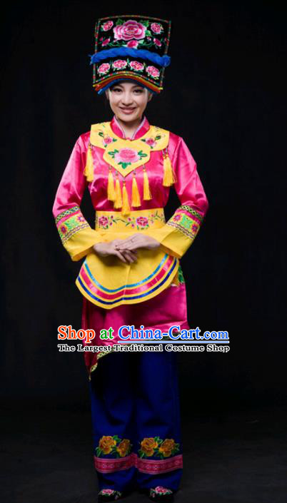 Chinese Traditional Qiang Nationality Rosy Outfits Ethnic Minority Folk Dance Stage Show Costume for Women