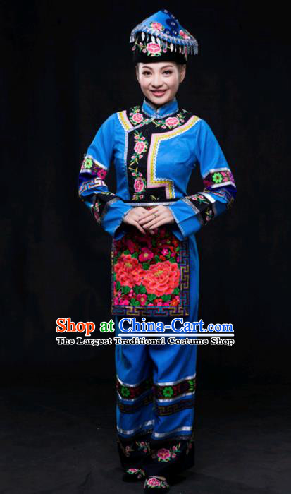 Chinese Traditional Maonan Nationality Blue Outfits Ethnic Minority Folk Dance Stage Show Costume for Women