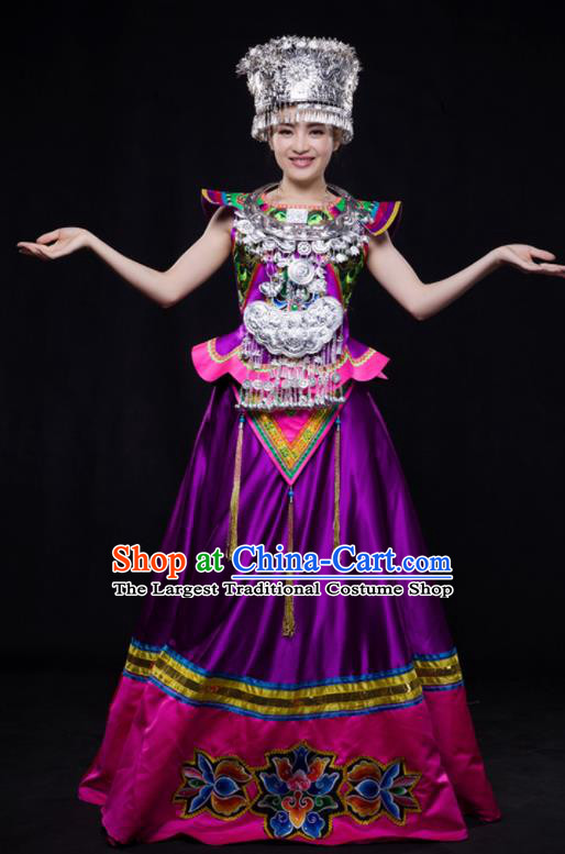 Chinese Traditional Miao Nationality Wedding Purple Dress Ethnic Minority Folk Dance Stage Show Costume for Women