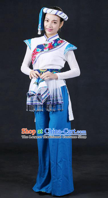 Chinese Traditional Tujia Nationality Stage Show Outfits Ethnic Minority Folk Dance Costume for Women