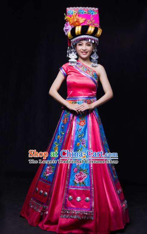 Chinese Traditional Yi Nationality Wedding Rosy Dress Ethnic Minority Folk Dance Stage Show Costume for Women