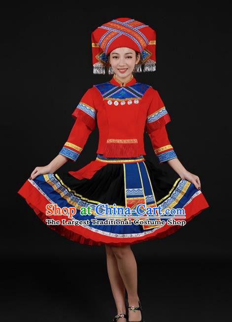 Chinese Traditional Zhuang Nationality Red Short Dress Ethnic Minority Folk Dance Stage Show Costume for Women