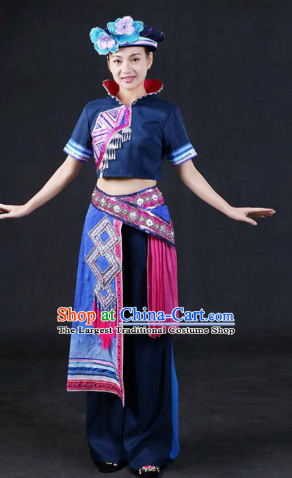 Chinese Traditional Zhuang Nationality Stage Show Navy Outfits Ethnic Minority Folk Dance Costume for Women