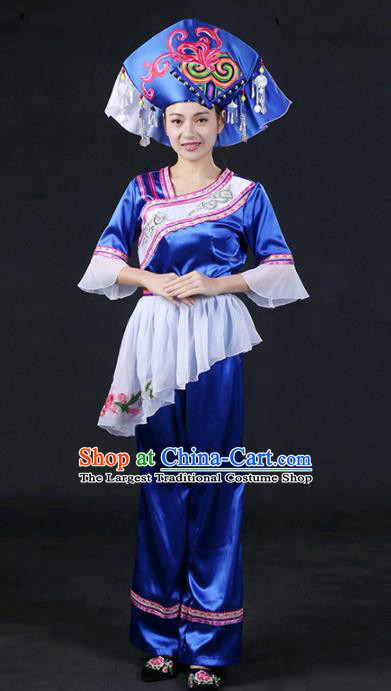 Chinese Traditional Zhuang Nationality Stage Show Royalblue Dress Ethnic Minority Folk Dance Costume for Women