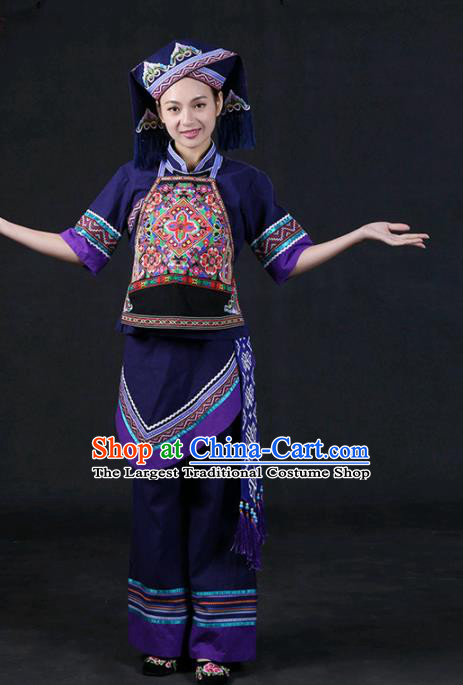 Chinese Traditional Zhuang Nationality Stage Show Purple Outfits Ethnic Minority Folk Dance Costume for Women