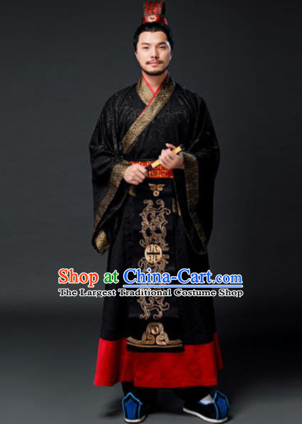 Traditional Chinese Han Dynasty Emperor Clothing Ancient Drama Royal King Costume for Men