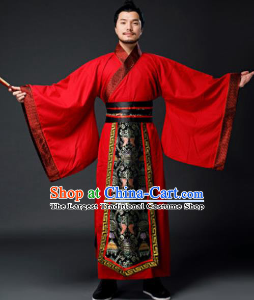 Traditional Chinese Han Dynasty Prime Minister Red Clothing Ancient Drama Royal King Costume for Men