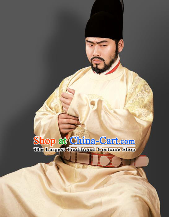 Chinese Ming Dynasty Emperor Embroidered Golden Imperial Robe Ancient Royal Highness Costumes for Men