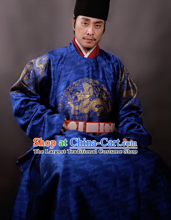 Chinese Ming Dynasty Royal King Embroidered Royalblue Imperial Robe Ancient Emperor Costumes for Men