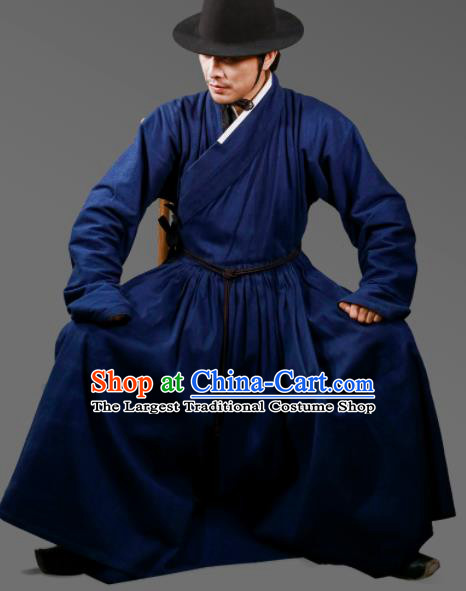 Traditional Chinese Ming Dynasty Swordsman Navy Robe Ancient Imperial Guards Costumes for Men