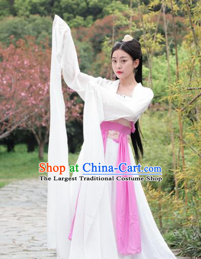 Chinese Traditional Classical Dance White Hanfu Dress Ancient Drama Court Princess Costume for Women