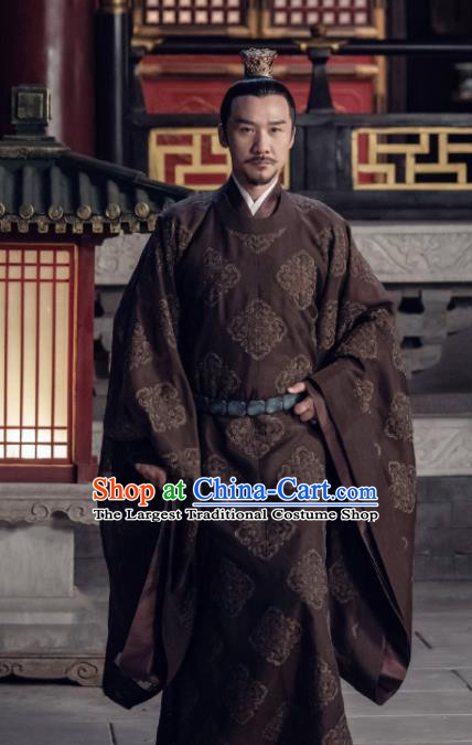 Drama Royal Nirvana Traditional Chinese Song Dynasty Emperor Xiao Ruijian Brown Clothing Ancient Imperator Costume for Men