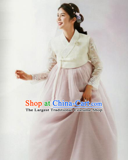 Korean Traditional Hanbok Bride White Lace Blouse and Pink Dress Outfits Asian Korea Wedding Fashion Costume for Women